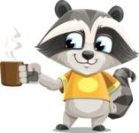 Baby Raccoon Cartoon Vector Character AKA Roony - Coffee