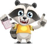 Baby Raccoon Cartoon Vector Character AKA Roony - Calculator