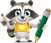 Baby Raccoon Cartoon Vector Character AKA Roony - Pencil