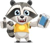 Baby Raccoon Cartoon Vector Character AKA Roony - iPhone