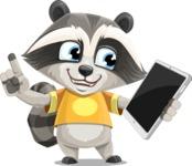 Baby Raccoon Cartoon Vector Character AKA Roony - iPad 3