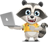 Baby Raccoon Cartoon Vector Character AKA Roony - Laptop 1