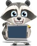 Baby Raccoon Cartoon Vector Character AKA Roony - Laptop 2