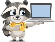 Baby Raccoon Cartoon Vector Character AKA Roony - Laptop 3