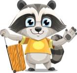 Baby Raccoon Cartoon Vector Character AKA Roony - Travel 1