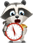 Baby Raccoon Cartoon Vector Character AKA Roony - Time is Yours