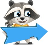 Baby Raccoon Cartoon Vector Character AKA Roony - Pointer 2