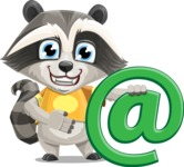 Baby Raccoon Cartoon Vector Character AKA Roony - Email