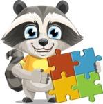 Baby Raccoon Cartoon Vector Character AKA Roony - Puzzle