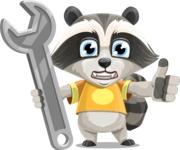 Baby Raccoon Cartoon Vector Character AKA Roony - Repair
