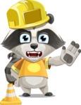 Baby Raccoon Cartoon Vector Character AKA Roony - Under Construction 1