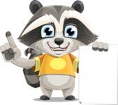 Baby Raccoon Cartoon Vector Character AKA Roony - Sign 2