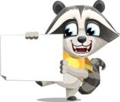 Baby Raccoon Cartoon Vector Character AKA Roony - Sign 4