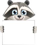 Baby Raccoon Cartoon Vector Character AKA Roony - Sign 5