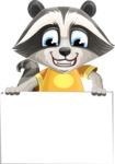Baby Raccoon Cartoon Vector Character AKA Roony - Sign 6