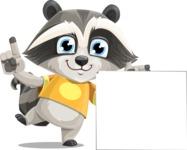 Baby Raccoon Cartoon Vector Character AKA Roony - Sign 7