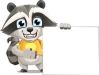 Baby Raccoon Cartoon Vector Character AKA Roony - Sign 8