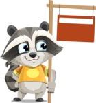Baby Raccoon Cartoon Vector Character AKA Roony - Sign 9