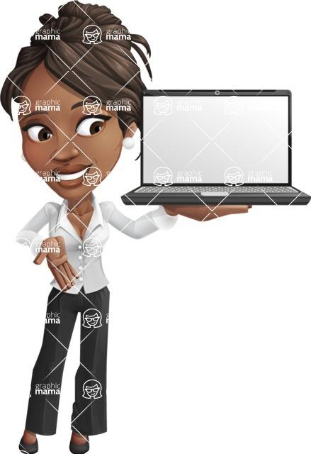 Chloe as Miss Profit - Laptop2