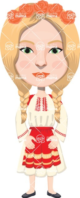 European People Vector Cartoon Graphics Maker - European Woman 27