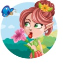 Cute Fairy Vector Cartoon Character AKA Frida the Flower Fairy - Shape 1