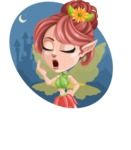 Cute Fairy Vector Cartoon Character AKA Frida the Flower Fairy - Shape 2