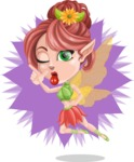 Cute Fairy Vector Cartoon Character AKA Frida the Flower Fairy - Shape 8