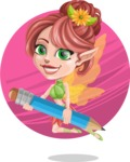 Cute Fairy Vector Cartoon Character AKA Frida the Flower Fairy - Shape 9