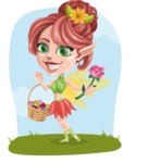 Cute Fairy Vector Cartoon Character AKA Frida the Flower Fairy - Shape 12