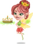 Cute Fairy Vector Cartoon Character AKA Frida the Flower Fairy - Cake