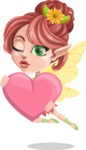 Cute Fairy Vector Cartoon Character AKA Frida the Flower Fairy - Love