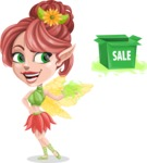 Cute Fairy Vector Cartoon Character AKA Frida the Flower Fairy - Sale