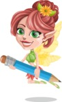 Cute Fairy Vector Cartoon Character AKA Frida the Flower Fairy - Pencil