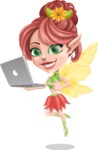 Cute Fairy Vector Cartoon Character AKA Frida the Flower Fairy - Laptop 1
