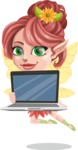 Cute Fairy Vector Cartoon Character AKA Frida the Flower Fairy - Laptop 2