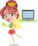 Cute Fairy Vector Cartoon Character AKA Frida the Flower Fairy - Laptop 3