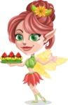 Cute Fairy Vector Cartoon Character AKA Frida the Flower Fairy - Cupcakes