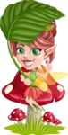 Cute Fairy Vector Cartoon Character AKA Frida the Flower Fairy - Leaf and Mushroom