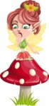 Cute Fairy Vector Cartoon Character AKA Frida the Flower Fairy - Mushroom 1