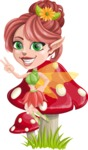 Cute Fairy Vector Cartoon Character AKA Frida the Flower Fairy - Mushroom 2