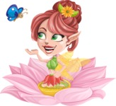 Cute Fairy Vector Cartoon Character AKA Frida the Flower Fairy - Flower 2