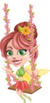 Cute Fairy Vector Cartoon Character AKA Frida the Flower Fairy - Swing 1