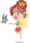 Cute Fairy Vector Cartoon Character AKA Frida the Flower Fairy - Bird 1