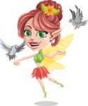 Cute Fairy Vector Cartoon Character AKA Frida the Flower Fairy - Bird 2