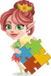 Cute Fairy Vector Cartoon Character AKA Frida the Flower Fairy - Puzzle