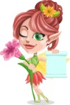 Cute Fairy Vector Cartoon Character AKA Frida the Flower Fairy - Sign 6