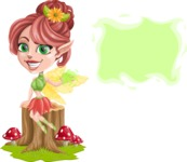 Cute Fairy Vector Cartoon Character AKA Frida the Flower Fairy - Sign 9