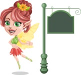 Cute Fairy Vector Cartoon Character AKA Frida the Flower Fairy - Sign 10