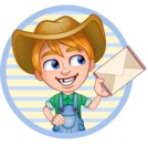 Little Farm Kid Cartoon Vector Character AKA Curtis the Farm's Menace - Shape 1