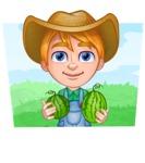 Little Farm Kid Cartoon Vector Character AKA Curtis the Farm's Menace - Shape 2